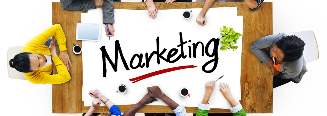 Aerial View with People and Text Marketing
